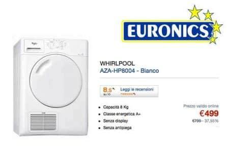 asciugatrice whirlpool Euronics